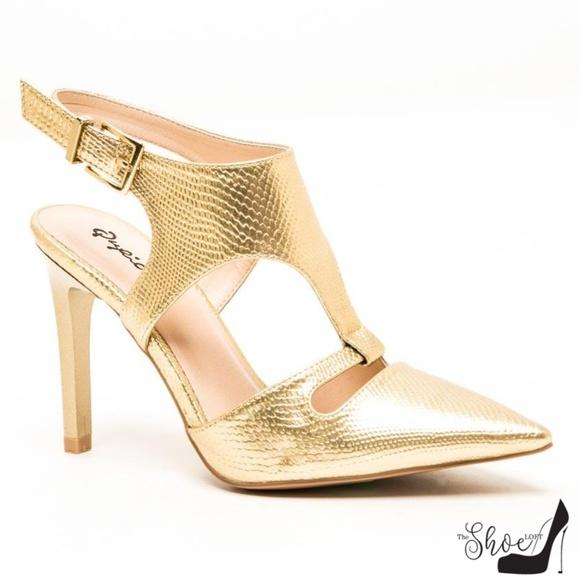 Qupid Shoes - May Metallic Gold Pointed Toe Sling Backs